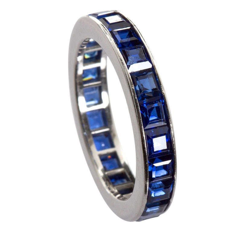CARTIER Vintage Sapphire Wedding Band At 1stdibs