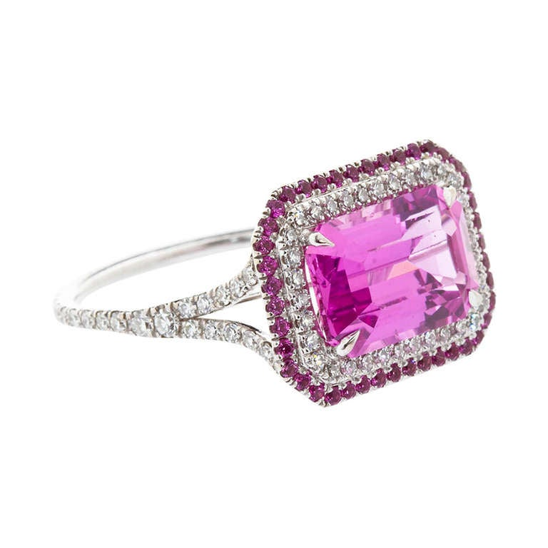 Pink Sapphire Ring Natural No-Heat For Sale