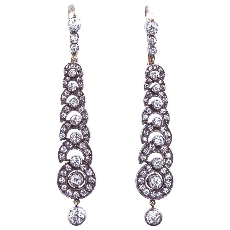 Diamond Demilune Motif Chandelier Hanging Earrings
