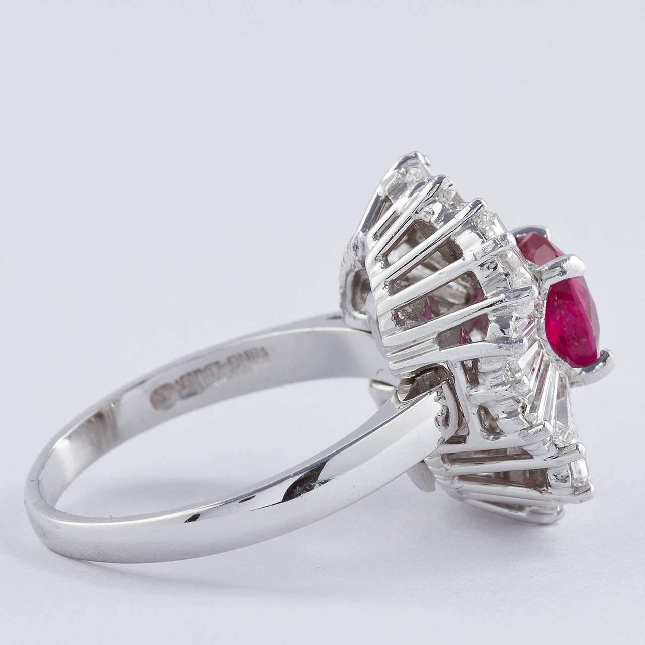 Women's Cushion Cut Ruby Diamond Ballerina Ring 1.86 Carat  For Sale