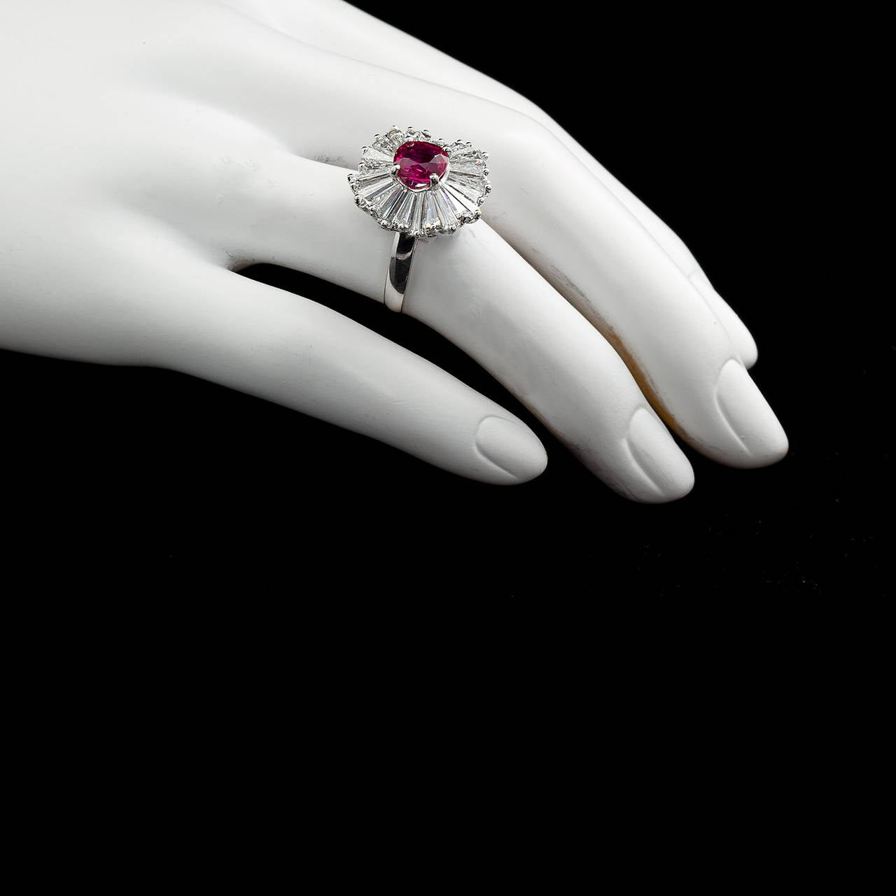 Cushion Cut Ruby Diamond Ballerina Ring 1.86 Carat  For Sale 1