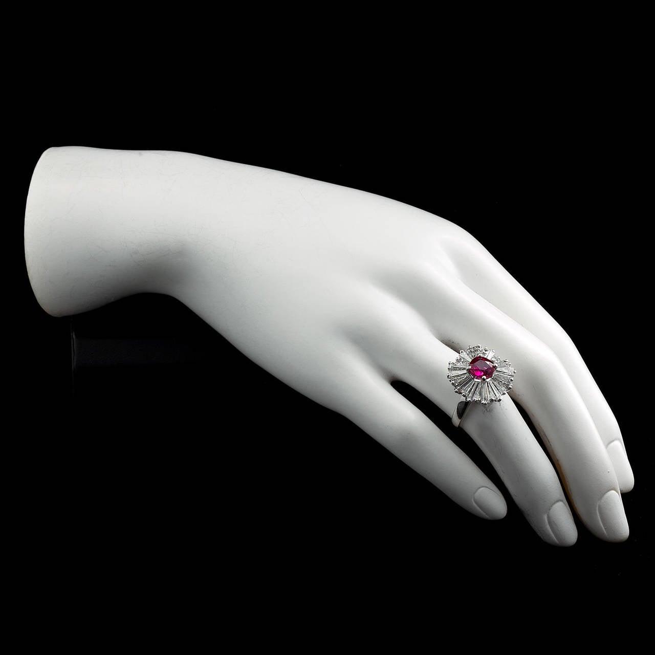 1.86 Carat Cushion Cut Ruby Diamond Ballerina Ring 4