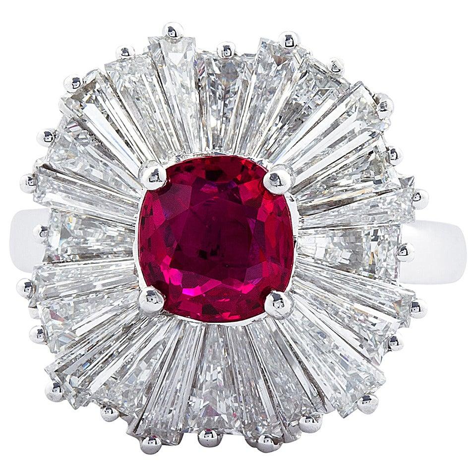 1.86 Carat Cushion Cut Ruby Diamond Ballerina Ring 1