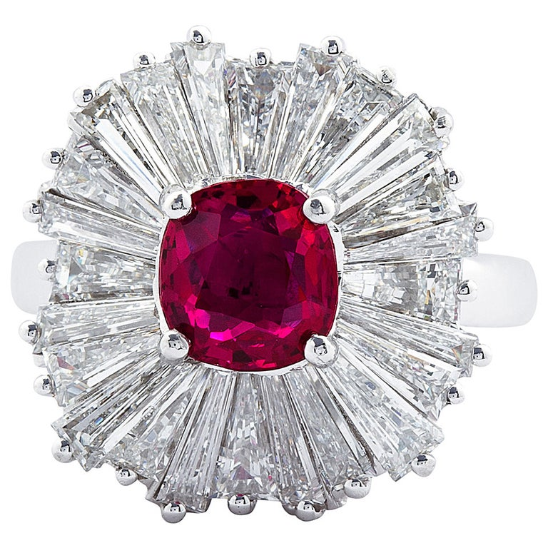 Cushion Cut Ruby Diamond Ballerina Ring 1.86 Carat  For Sale