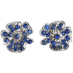 Vintage Diamond and 19.00 Carat Cabochon Sapphire Flower Earclips