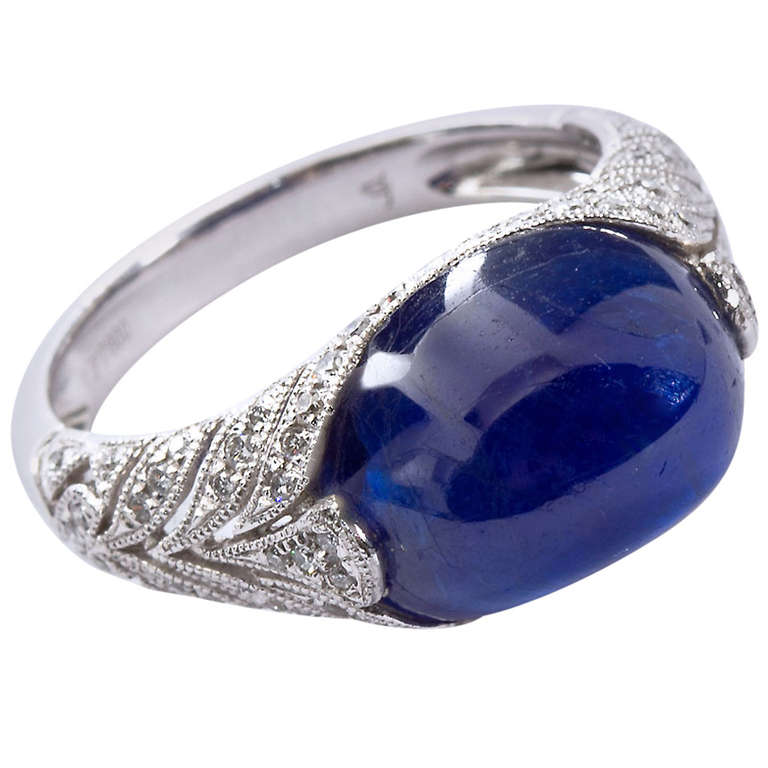 pin ct jewelry deco french engagement cabochon art vintage ring sapphire rings antique