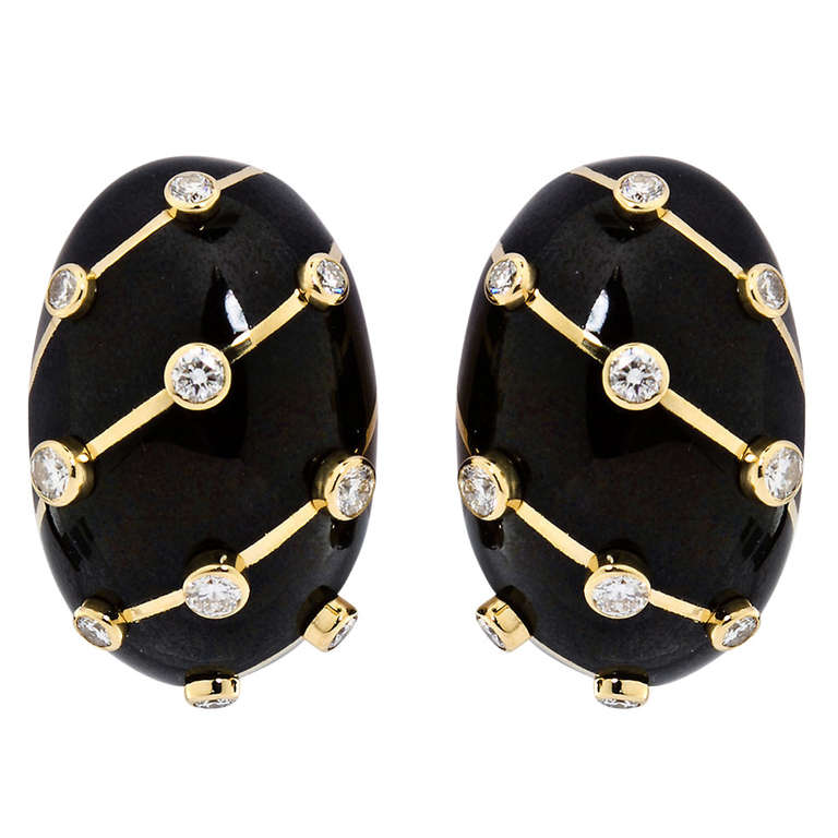 Tiffany and Co Jean Schlumberger Black Enamel Diamond Earrings For Sale at 1