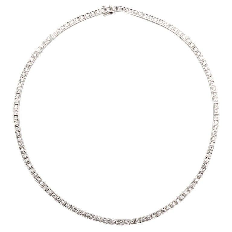 Line Art Earrings : Art deco diamond platinum straight line necklace at stdibs
