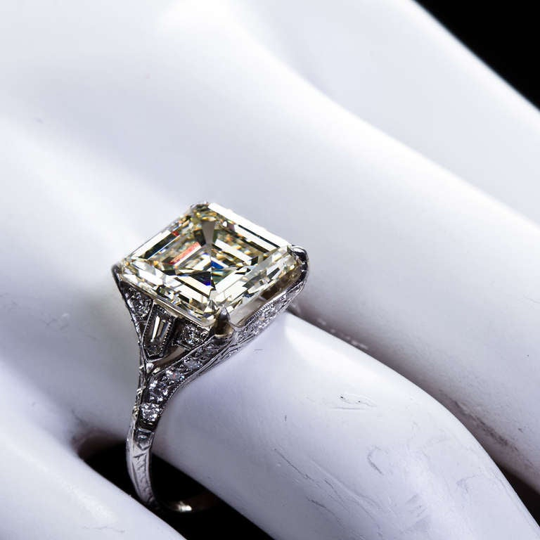 Art Deco 6 12 Carat Square Emerald Cut Diamond Engagement Ring at 1stdibs