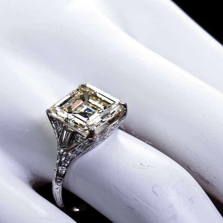 deco 6 12 carat square emerald cut engagement ring at 1stdibs