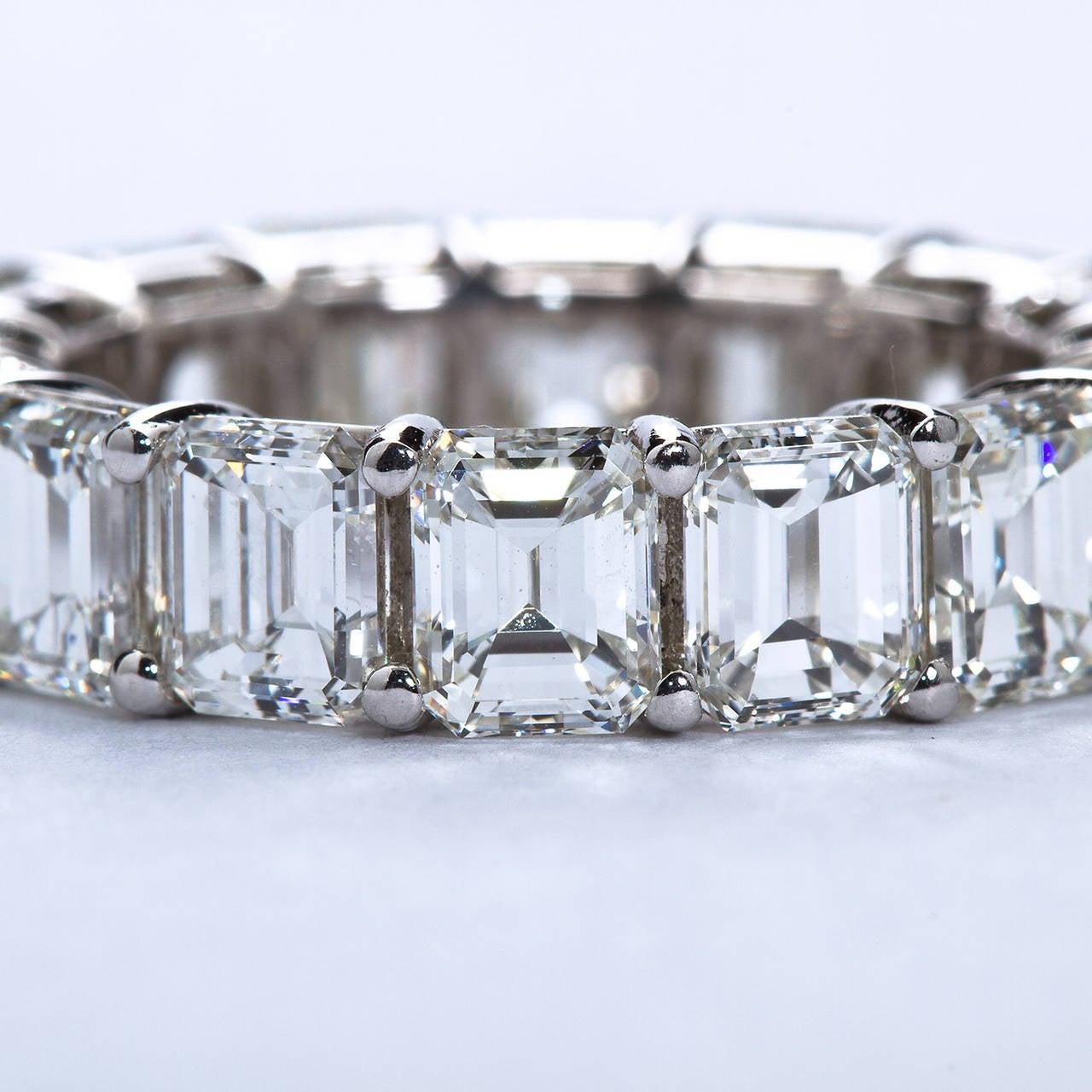 16 emerald cut diamonds 8 17 carats platinum eternity band