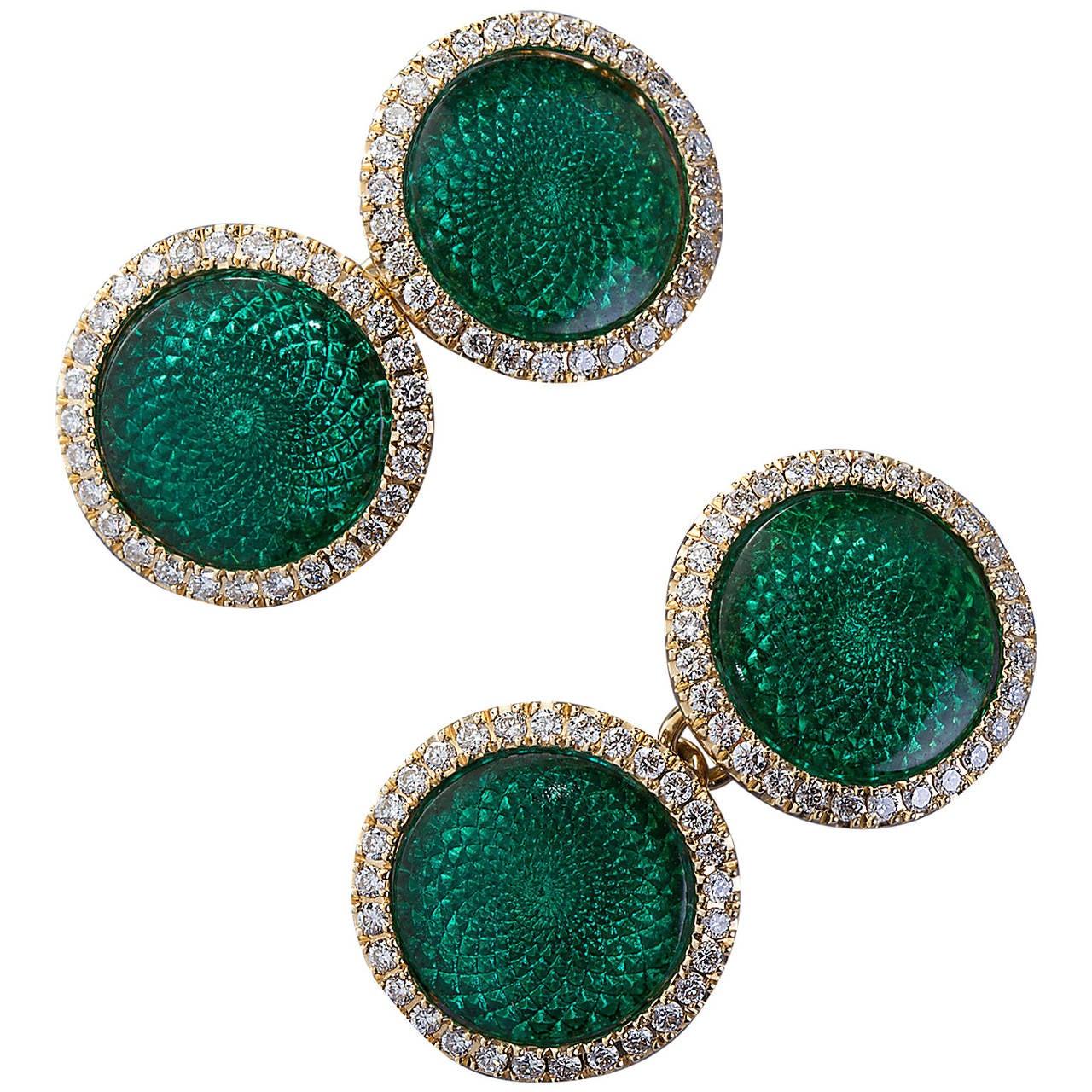 Green Enamel Diamond Gold Cufflinks