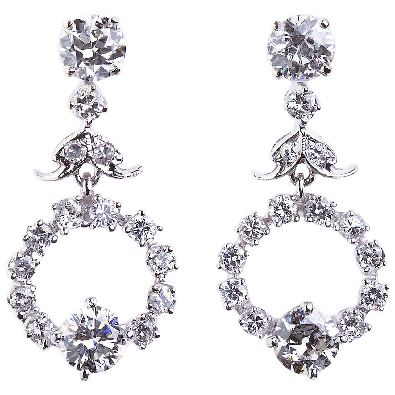 Diamond Drop Hoop Design Earrings