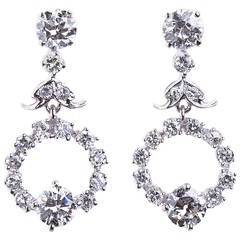 Diamond Drop Hoop Design Earrings