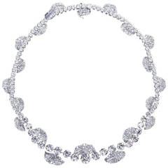 French Garland Diamond Platinum Necklace