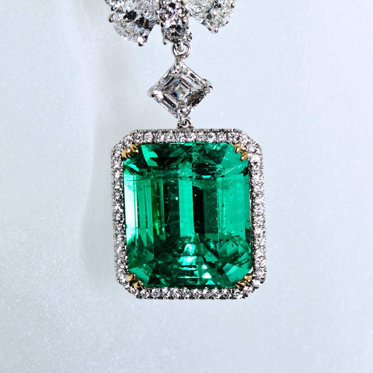 Women's Diamond Cluster Colombian Emerald Drop Earrings For Sale