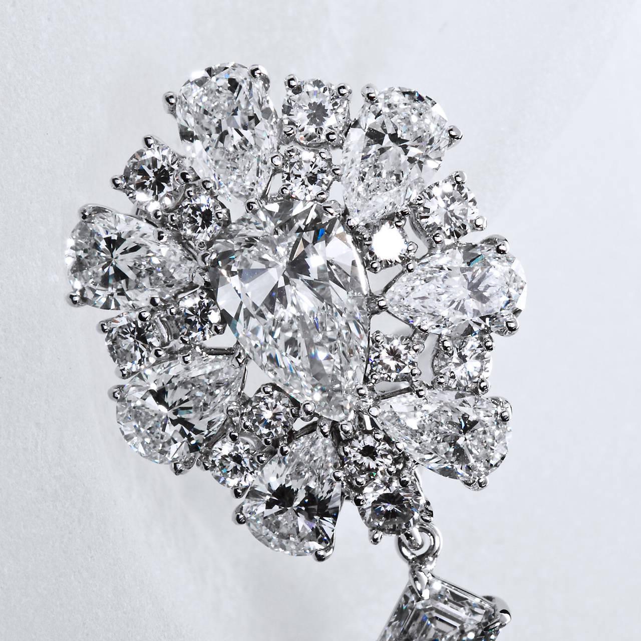 Diamond Cluster Colombian Emerald Drop Earrings 3