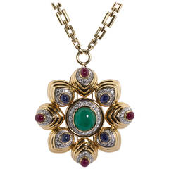 David Webb Large Cabochon Gem Combination Pendant Brooch with Chain Necklace
