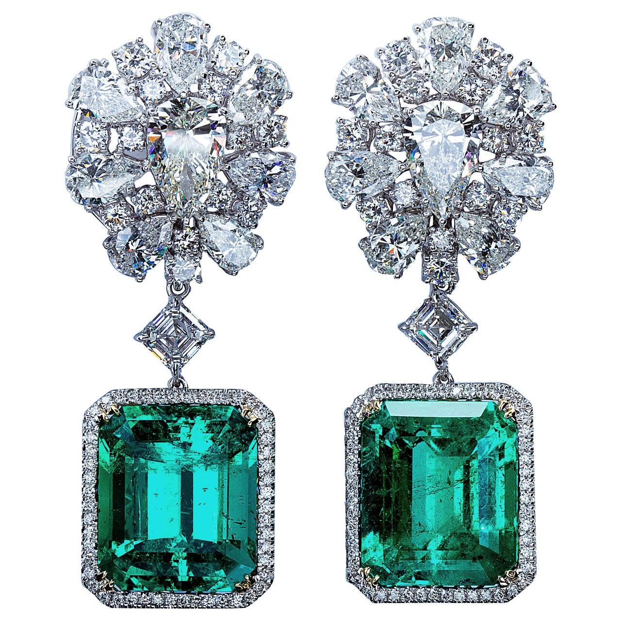 Diamond Cluster Colombian Emerald Drop Earrings For Sale