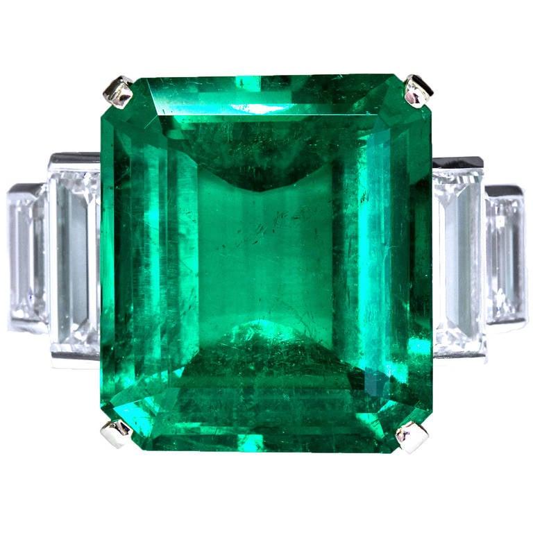 16.68 Carat Emerald Diamond Platinum Ring 1