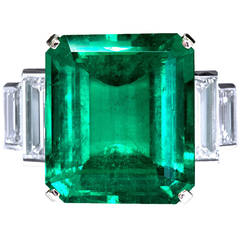16.68 Carat Emerald Diamond Platinum Ring