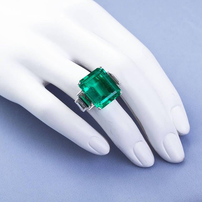 16.68 Carat Emerald Diamond Platinum Ring 8