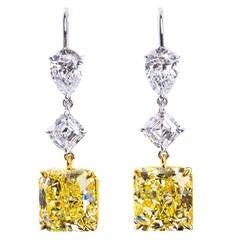 6.24 and 6.58 Carat Fancy Yellow Diamond Dangle Earrings
