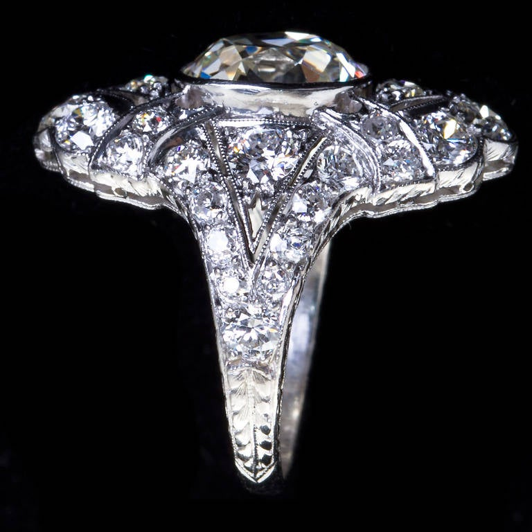Women's Art Deco 4.60 Carat Old Cushion Cut Diamond Platinum Ring For Sale