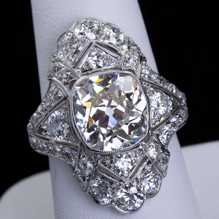 Art Deco 4 60 Carat Old Cushion Cut Diamond Platinum Ring For Sale at 1stdibs