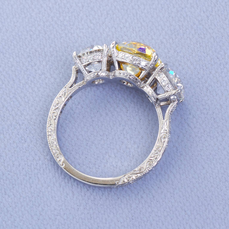 2.72 Carat Old Mine Fancy Yellow Three-Stone Diamond Ring GIA Certified For Sale 1