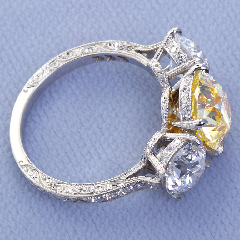 2.72 Carat Old Mine Fancy Yellow Three-Stone Diamond Ring GIA Certified For Sale 2