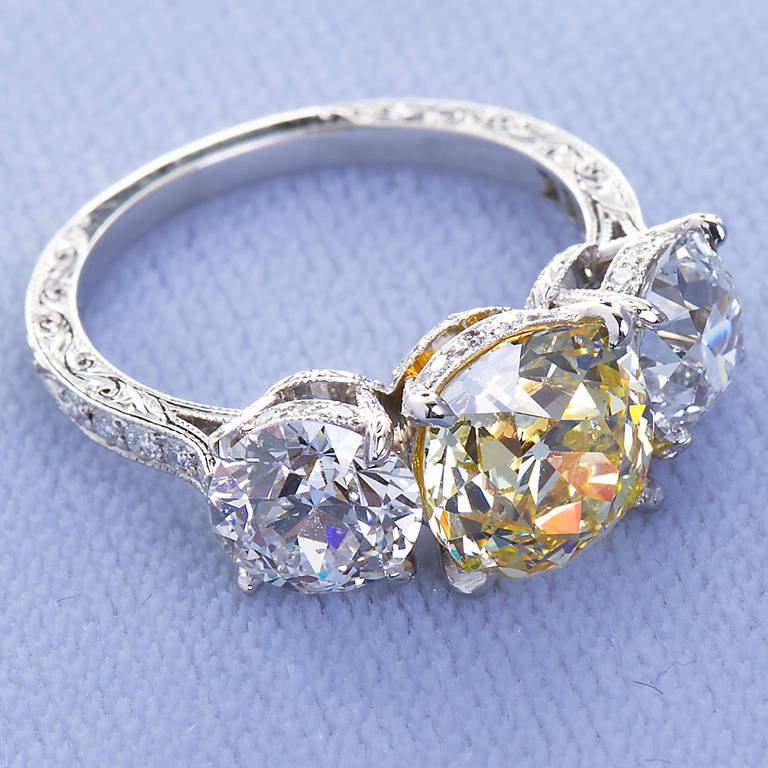 2.72 Carat Old Mine Fancy Yellow Three-Stone Diamond Ring GIA Certified For Sale 3