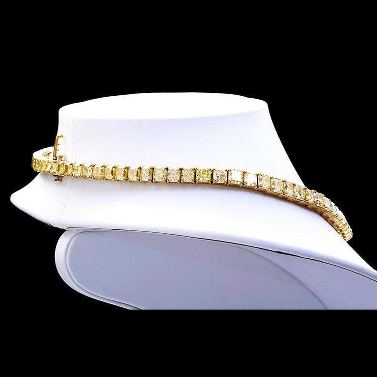 Cushion Cut 100 Carat Grand Fancy Yellow Diamond Necklace For Sale