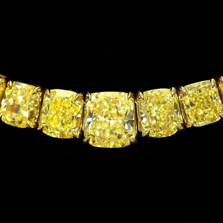 Women's 100 Carat Grand Fancy Yellow Diamond Necklace For Sale