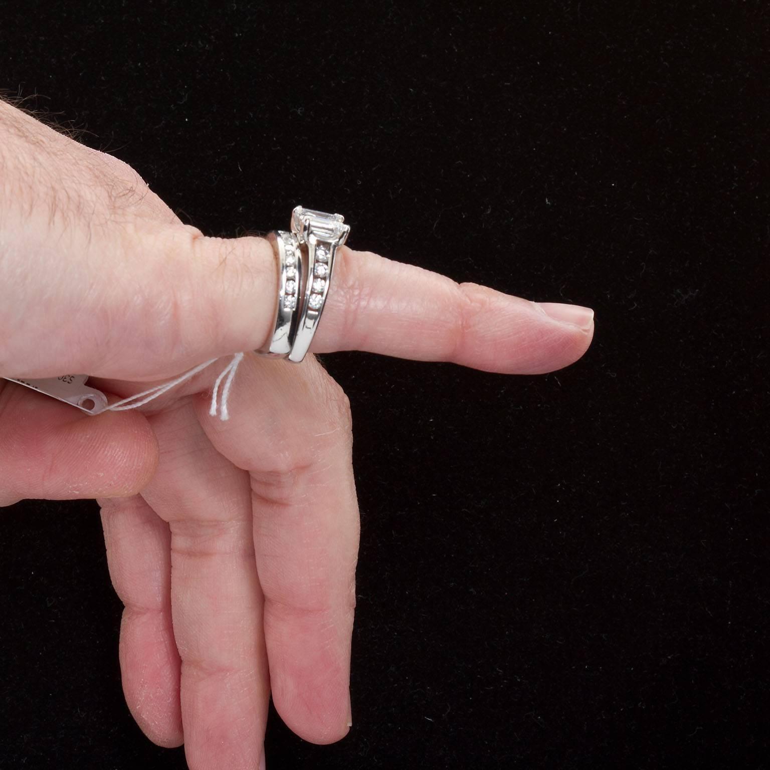 A. Jaffe 1.74 Carat Diamond Platinum Engagement Ring and Band Set ...