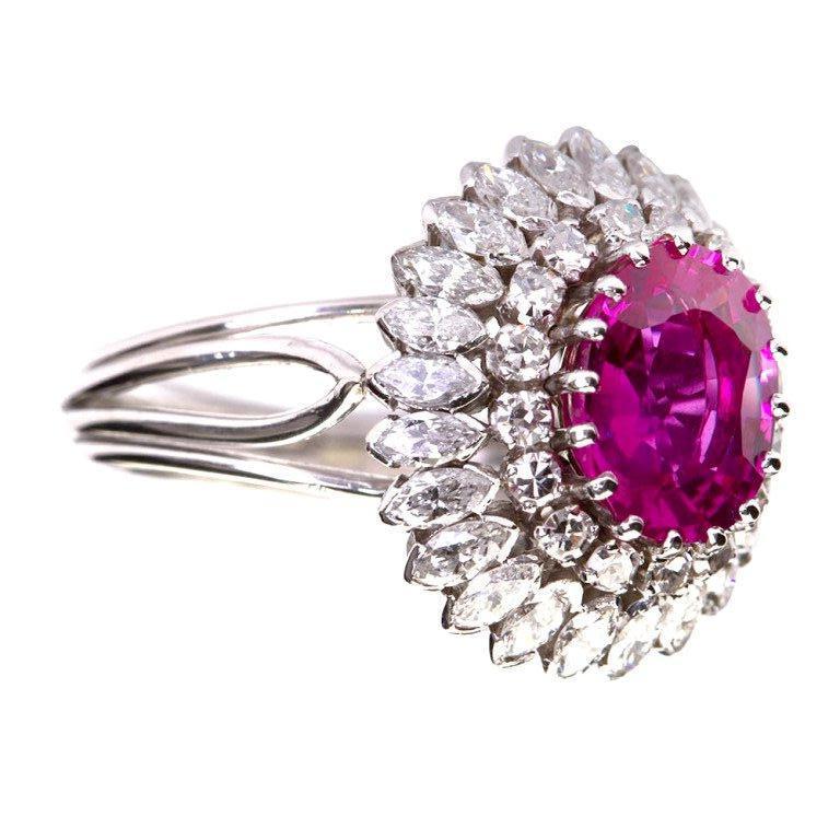 2.33 Carat No-Heat Burma Natural Oval Pink Sapphire Diamond Ring GIA Certified