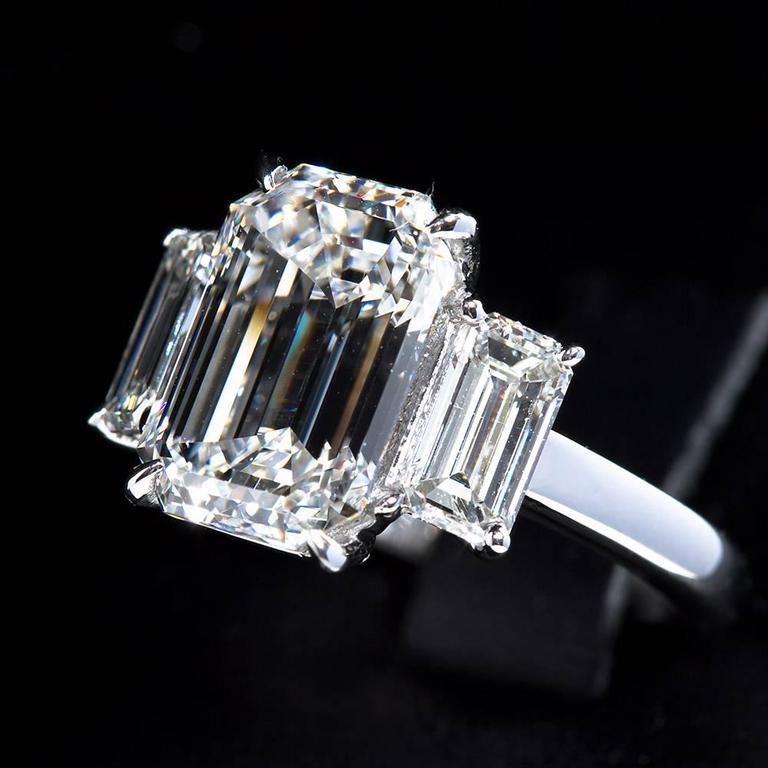 4.84 Carat GIA Center Emerald Cut Diamond Platinum Three Stone Engagement Ring  2