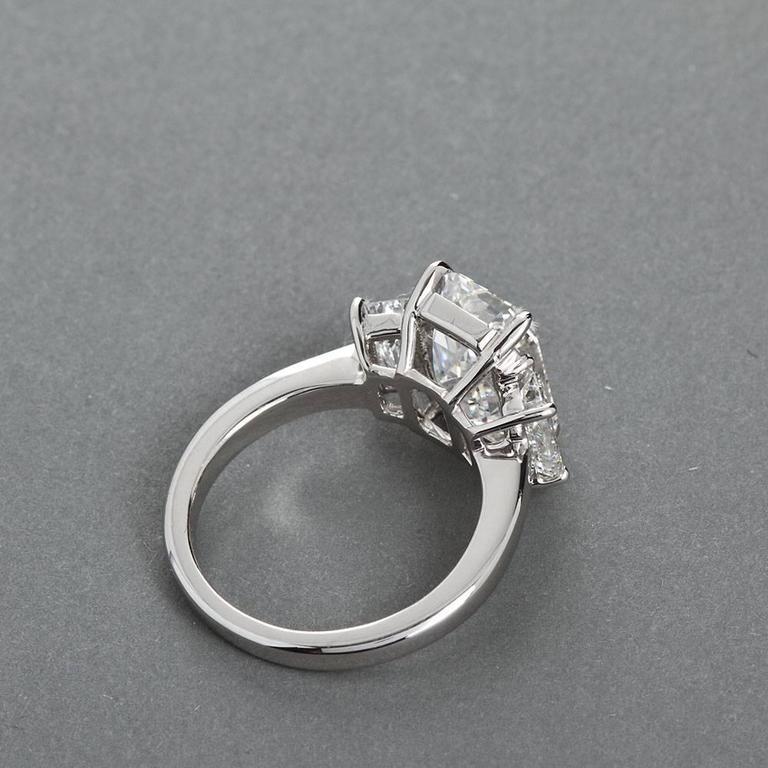 4.84 Carat GIA Center Emerald Cut Diamond Platinum Three Stone Engagement Ring  4
