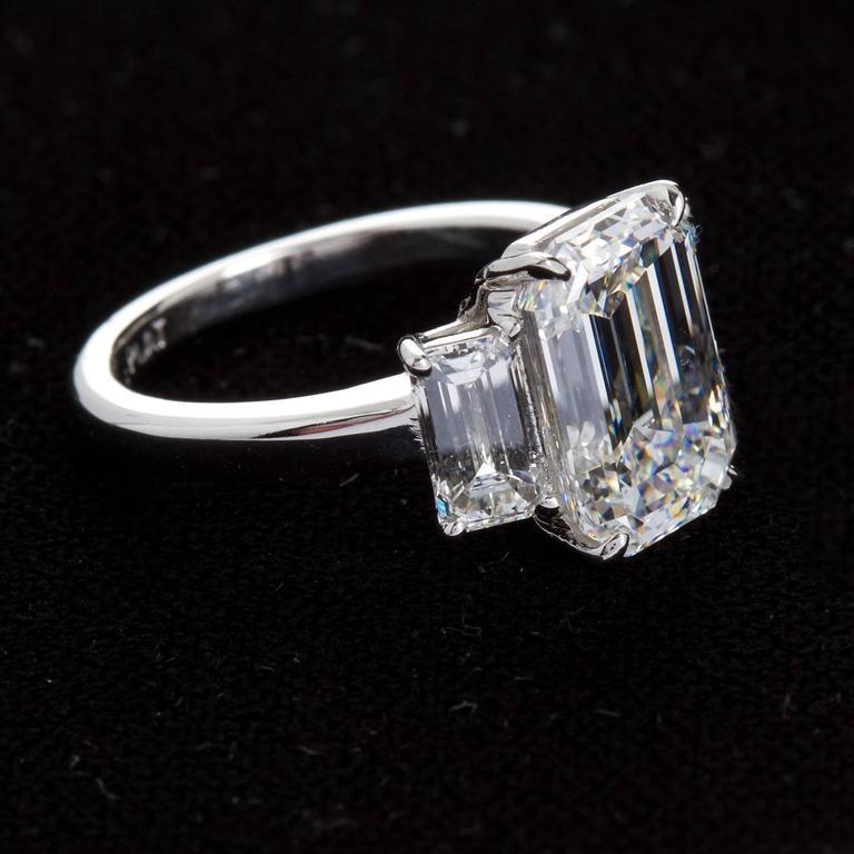 4.84 Carat GIA Center Emerald Cut Diamond Platinum Three Stone Engagement Ring  3