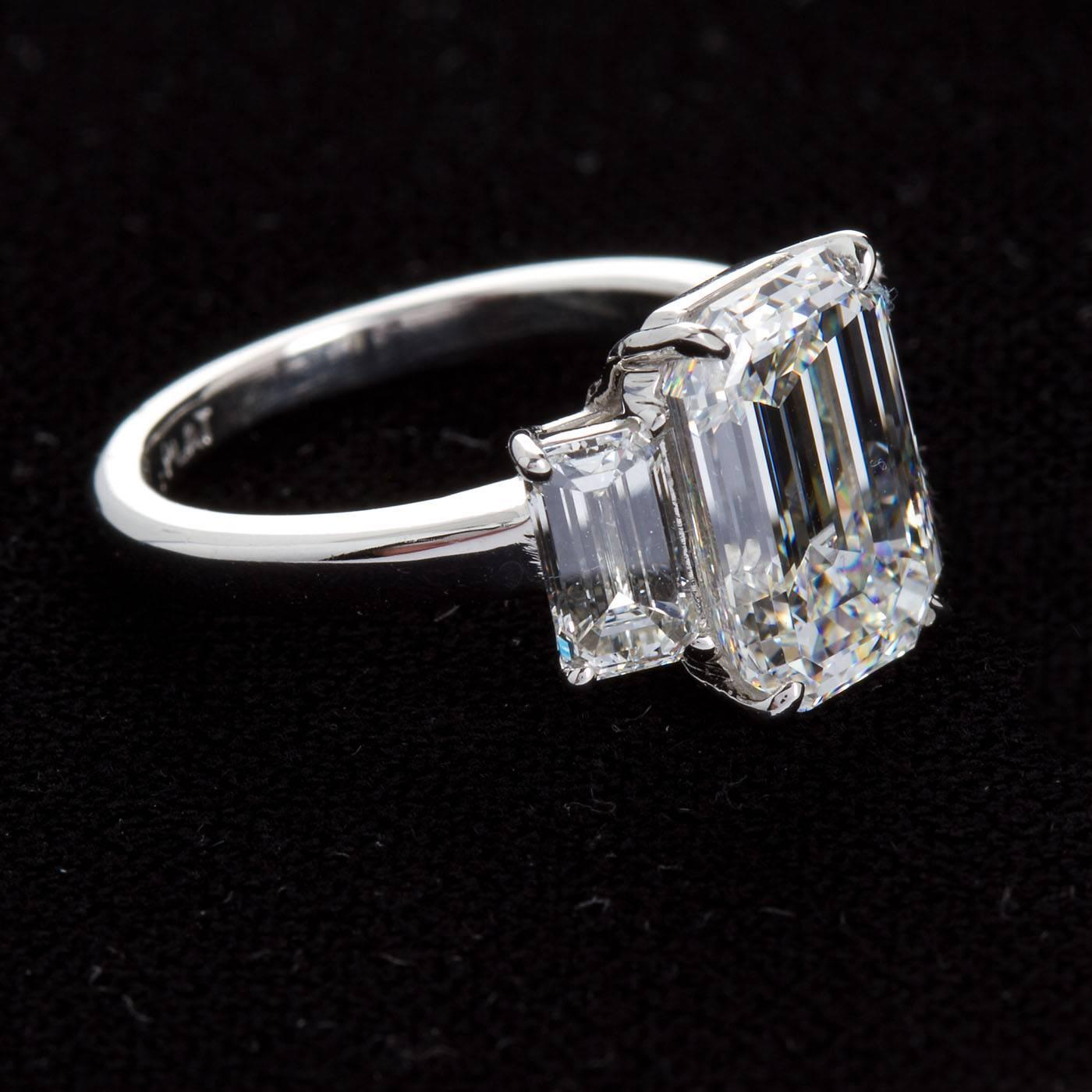 4 84 Carat Gia Center Emerald Cut Diamond Platinum Three