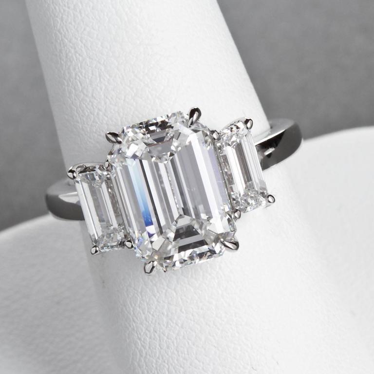 4.84 Carat GIA Center Emerald Cut Diamond Platinum Three Stone Engagement Ring  6