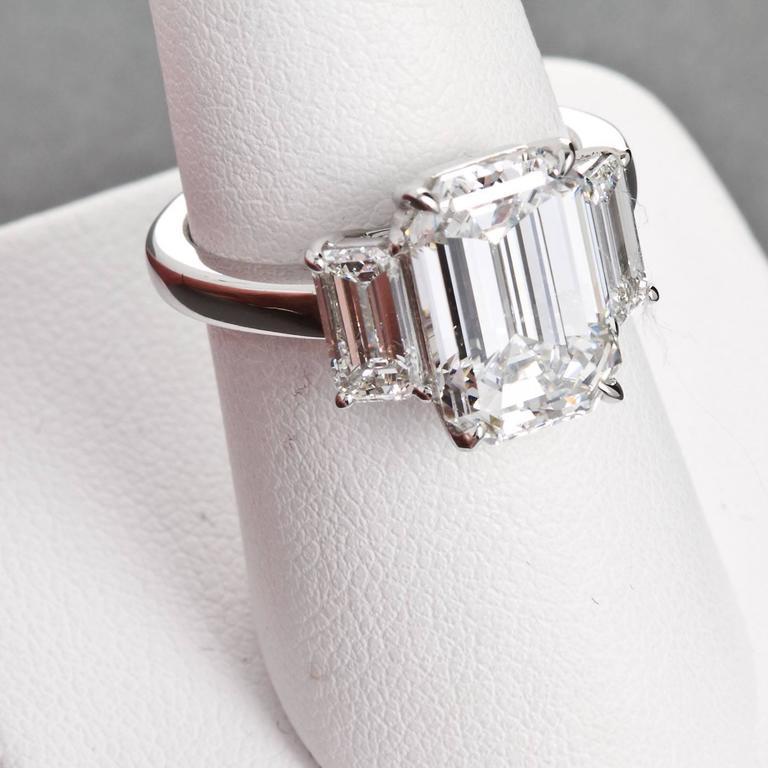 4.84 Carat GIA Center Emerald Cut Diamond Platinum Three Stone Engagement Ring  5