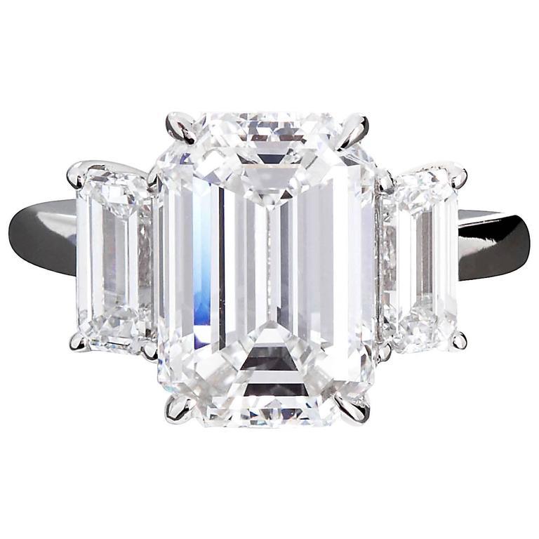 4.84 Carat GIA Center Emerald Cut Diamond Platinum Three Stone Engagement Ring  1
