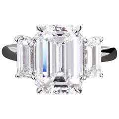 4.84 Carat GIA Center Emerald Cut Diamond Platinum Three Stone Engagement Ring