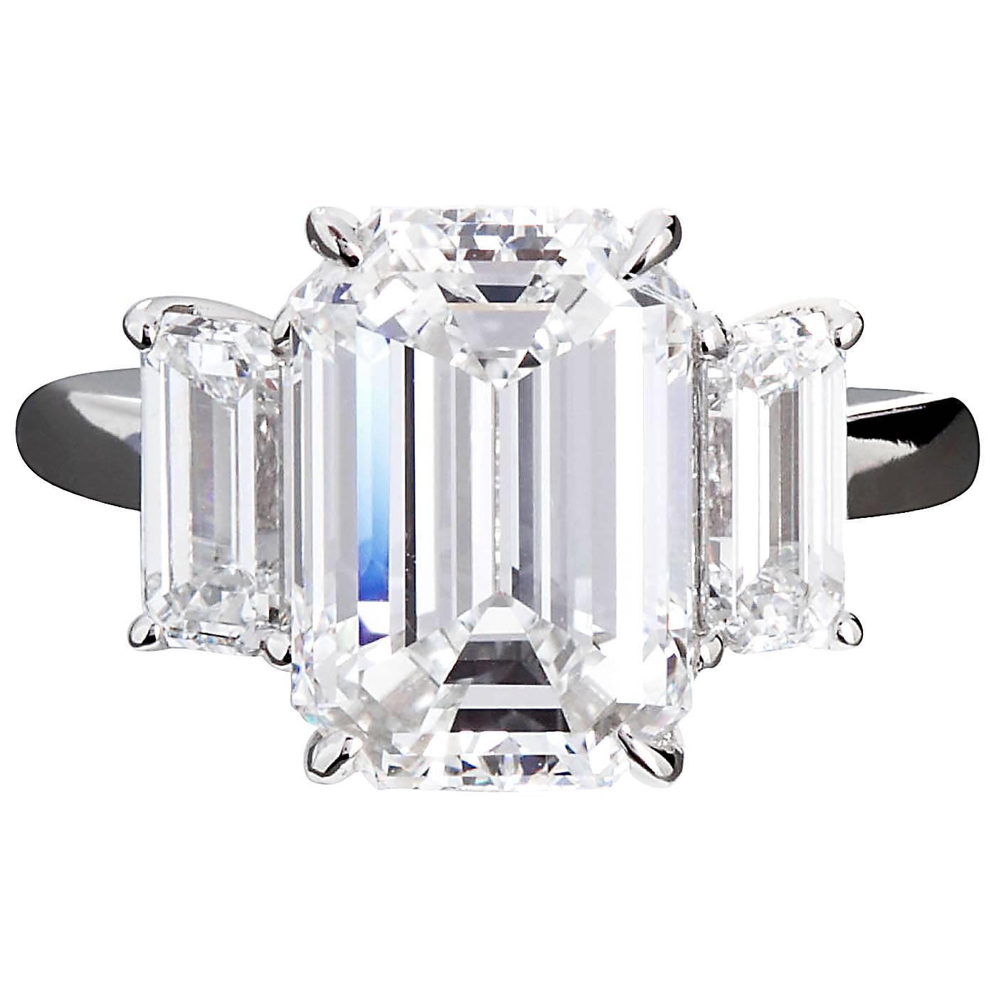 4 84 Carat GIA Center Emerald Cut Diamond Platinum Three Stone Engagement Rin