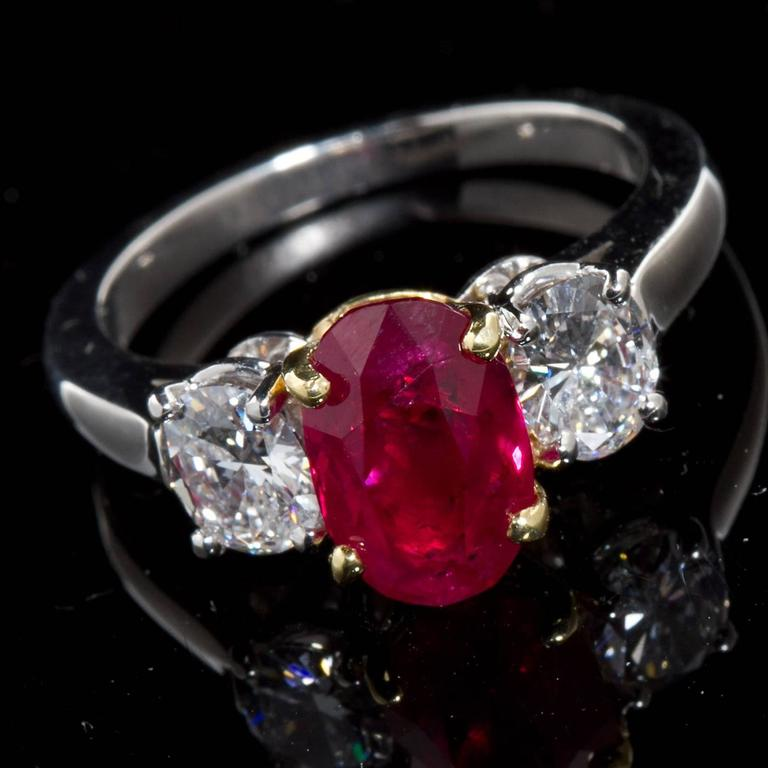 Oval Cut Rare Burma No-Heat 2.64 Carat Oval Ruby Diamond Three-Stone Ring For Sale