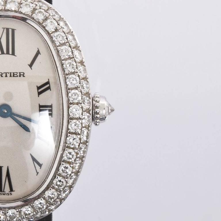 Cartier Baignoire Ladies White Gold Satin Band Wristwatch At 1stdibs