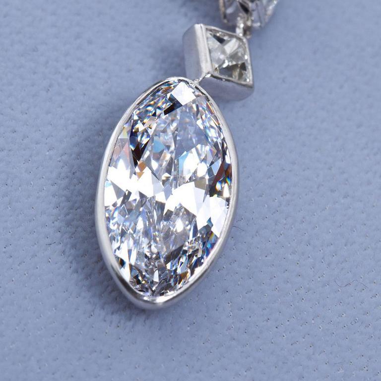 Women's Important Moval Shaped D Internally Flawless Diamond Dangle Chandelier Earrings For Sale