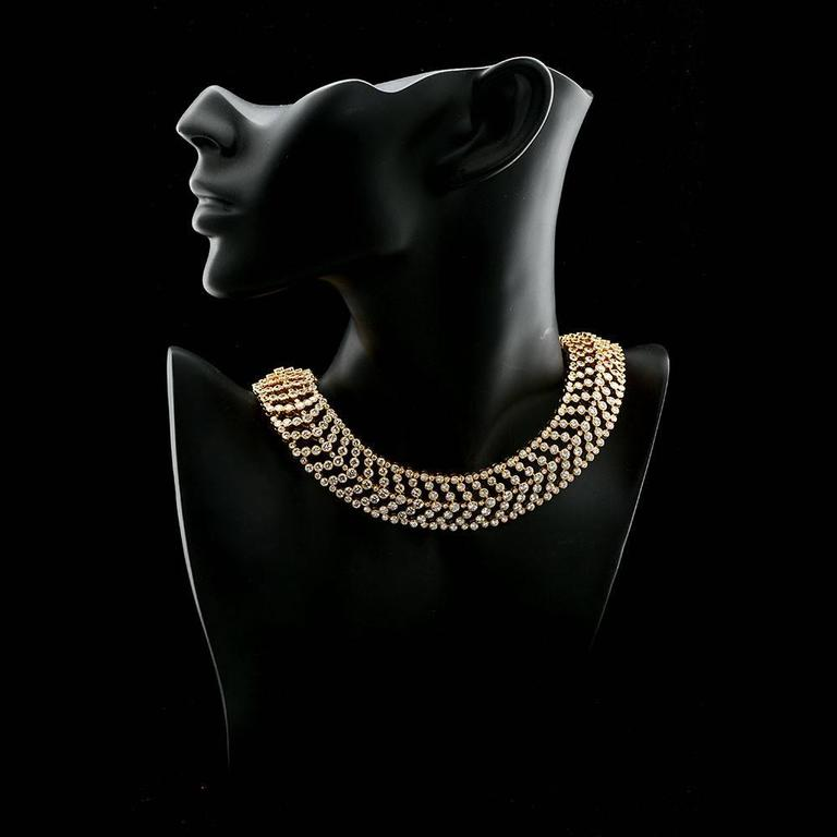 Modern Cartier Paris Vintage Diamond in Gold Choker Necklace For Sale