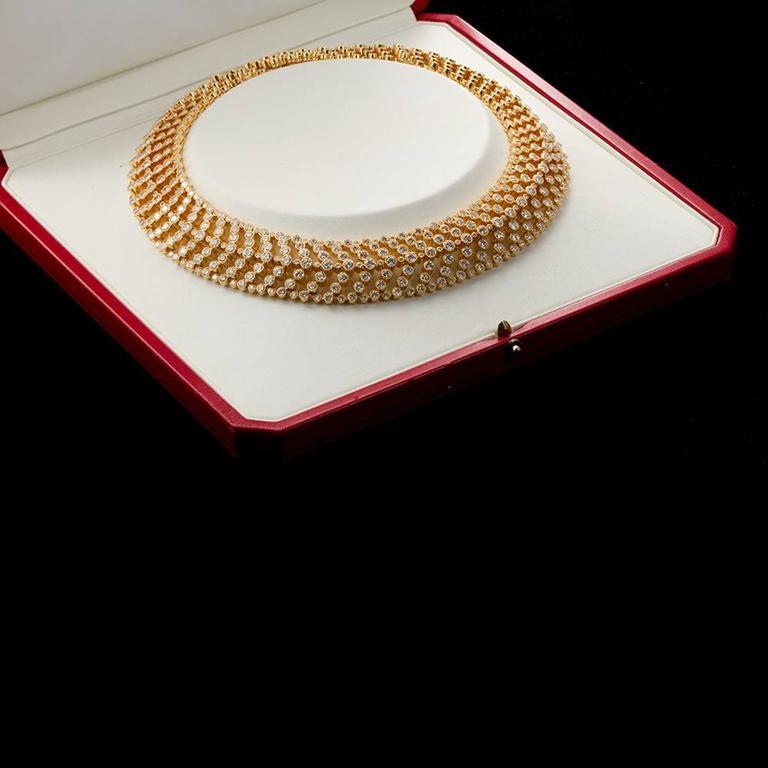 Cartier Paris Vintage Diamond in Gold Choker Necklace For Sale 3